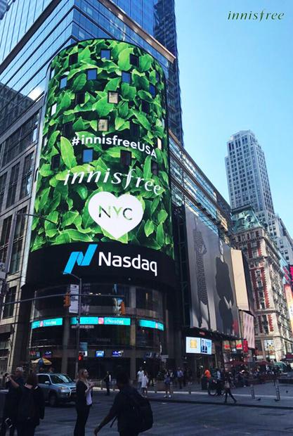 뉴욕 타임스퀘어 전광판에 진행한 이니스프리 광고/사진제공=이니스프리