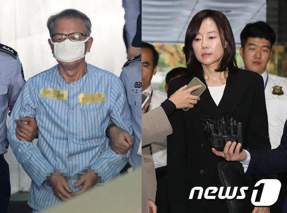 [사진]김기춘-조윤선 '항소심 첫 공판 출석'