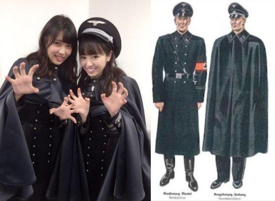 일본 아이돌그룹 케야키자카의 나치 군복과 유사한 핼러윈 의상. /사진=케야키자카 공식 홈페이지(왼쪽), SNS
