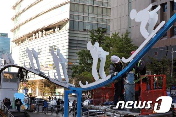 [사진]100일 앞둔 평창 동계올림픽...'청계광장에서 홍보해요'