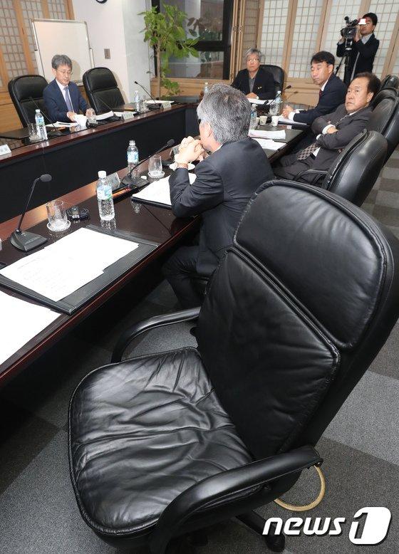 [사진]고영주 이사장 사퇴 논의 방문진 이사회의 빈자리