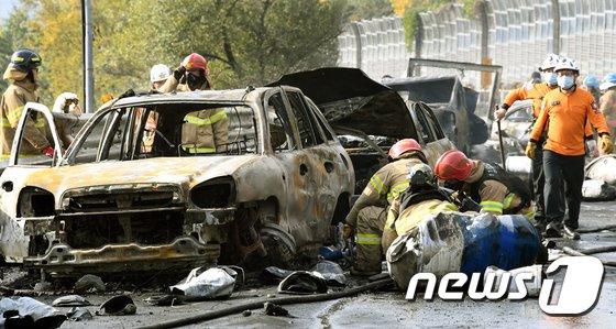 [사진]'기름통 폭발, 처참한 사고 현장'