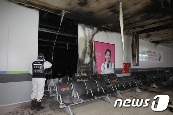 [사진]김포공항 국제선 1층 공사현장 화재
