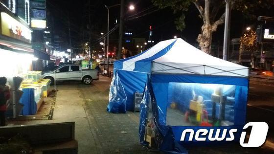 양천구가 신월동 새벽인력시장에 설치한 천막.(양천구 제공) © News1