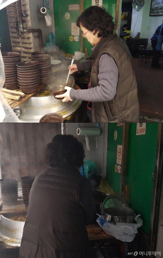 사장 권영희씨가 해장국을 그릇에 담고 있다. 옆에는 8인분을 포장해달라며 40대 남성이 가져온 스테인레스 통이 보인다. /사진=이재은 기자