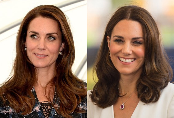 케이트 미들턴 영국 왕세손빈의 달라진 헤어 스타일(왼쪽은 2016년 10월, 오른쪽은 지난 17일)=/사진=켄싱턴 궁 트위터