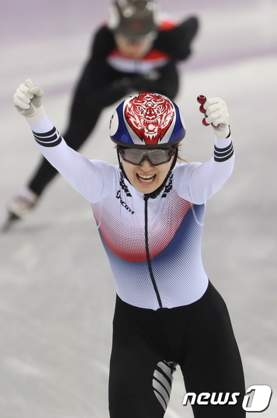 [사진]최민정, 女 쇼트트랙 1500m 금메달 쾌거 '압도적 경기력'