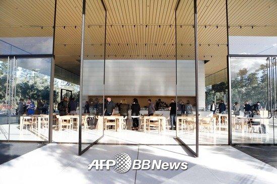 애플이 지난해 11월 공개한 애플파크 내 방문자센터/AFPBBNews=뉴스1