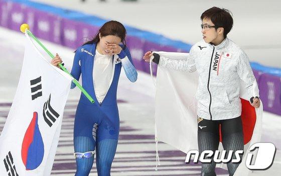 [사진]이상화 '눈물의 올림픽 은메달'