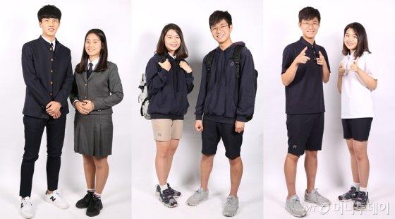 한가람고등학교의 동복, 춘추복, 하복(왼쪽부터). 해당 고교는 계절 구분없이 이중 아무 복장이나 선택해 입을 수 있다. 동복 재킷에 하복 반바지를 입어도 되는 셈이다. /사진제공=한가람고등학교