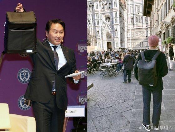 최태원 SK그룹 회장(왼쪽)이 '모어댄'의 가방을 들어보이고 있다. 방탄소년단의 랩몬스터(오른쪽)가 유럽여행에서 모어댄 가방을 메 유명세를 타기도 했다./사진=뉴스1,방탄소년단 트위터