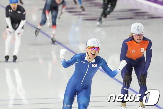 [사진]메스스타트 이승훈 '올림픽 금메달'