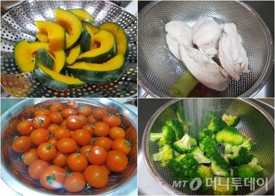 밀프렙 도시락을 싸기 위해 준비한 요리재료들. 단호박, 닭가슴살, 브로콜리, 방울토마토(왼쪽 위부터 시계방향). /사진=박가영 인턴기자