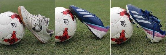 왼쪽부터 실내용 풋살화, 인조잔디용 풋살화, 축구화 /사진=서울 은평FS 풋볼아카데미