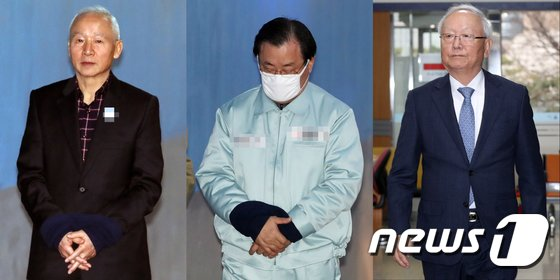 '특활비 뇌물 의혹' 혐의를 받고 있는 남재준(왼쪽부터), 이병기, 이병호 전 국가정보원장.  © News1