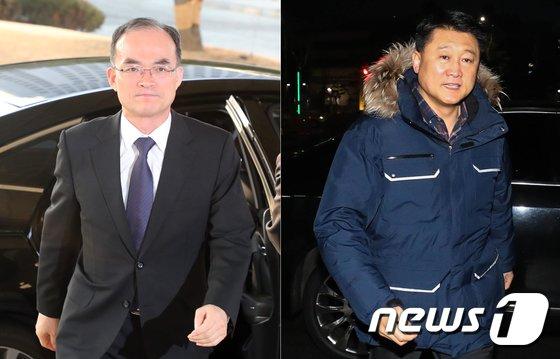 15일 문무일 검찰총장(왼쪽)과 이철성 경찰청장이 출근하고 있다. 2018.1.15/뉴스1 © News1 황기선 기자