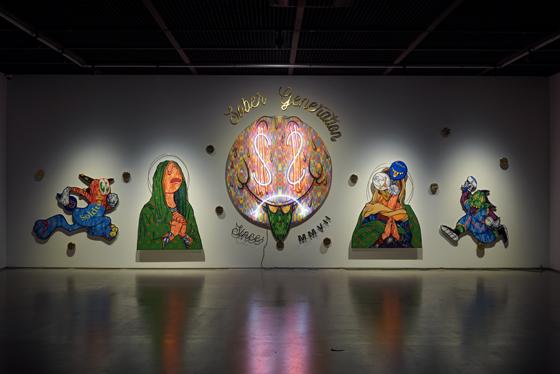 우지 (하한) 한도코 에코 사푸트로 Uji (Hahan) Handoko Eko Sputro, Baby Booming, 2015-18, Neon sign, acrylic on canvas, play wood, brass, Dimensions variable/사진제공=아라리오갤러리
