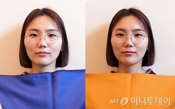 쿨톤 색상을 대봤을 때(왼쪽)와 웜톤 색깔을 대봤을 때 눈동자 색깔이나 얼굴 빛이 달라지는 것을 볼 수 있다. /사진=이상봉 기자