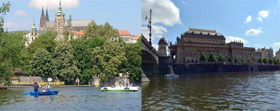 블타바 강에서 바라본 프라하 성의 모습(왼쪽)과 체코 국립음악당 전경.