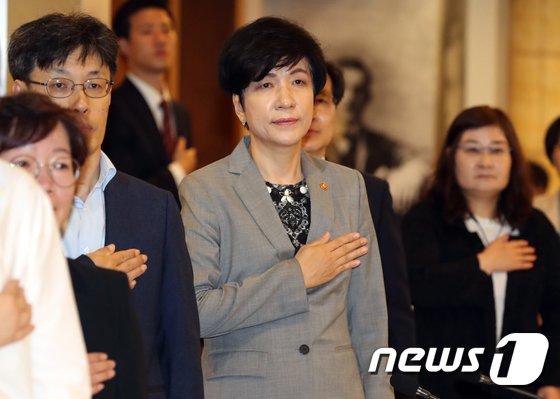 [사진]김영주 장관 '최저임금위 국민의례'