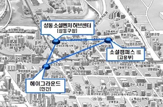 서울 성동구 성수동 소셜벤처허브 위치도./자료=중소벤처기업부