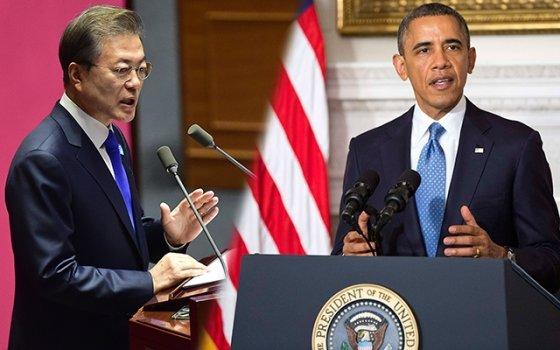 문재인 대통령(왼쪽)과 버락 오바마 전 미국 대통령의 연설 모습. /사진=머니투데이DB