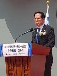 송영무 국방장관(사진)은 해군 출신으로 14일 마라도함 진수식에 참석해 축사를 하면서 우리 군이 동북아 평화를 수호하는데 앞장서 달라고 당부했다. / 사진 = 박준식 기자
