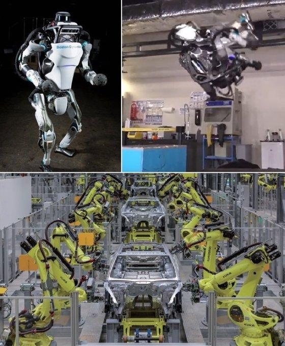 (위쪽 사진)일본 소프트뱅크가 구글로부터 인수한 보스턴다이나믹스가 개발한 인간형 로봇 '아틀라스'. 이족보행과 점프는 물론, 공중제비(백덤블링·오른쪽 사진)에 성공해 세상을 놀래켰다. 제원은 신장 150㎝, 무게 75㎏. /유튜브 동영상 캡쳐<br /> <br /> (아래쪽 사진)포르쉐의 생산거점인 독일 라이프치히 공장에선 대부분의 공정을 조립로봇이 담당한다 조립로봇을 만든 독일의 100년 로봇제조사 '쿠카'는 지난해 중국 가전업체 메이디그룹에 인수됐다. /사진제공=포르쉐
