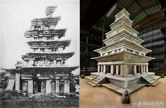 미륵사지 석탑 1910년 동측면(왼쪽)과  미륵사지 석탑 수리 후 동북측면. /사진제공=문화재청<br />
