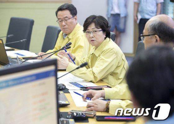 [사진]제7호 태풍 북상 상황 점검하는 김은경 장관