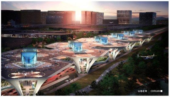 플라잉택시 '우버에어'가 뜨고 내릴 수 있는 스카이포트 구상도. 일반도로나 고속도로의 구획된 도시 형태를 돌이켜보는 개념으로 설계했다. /사진제공=우버