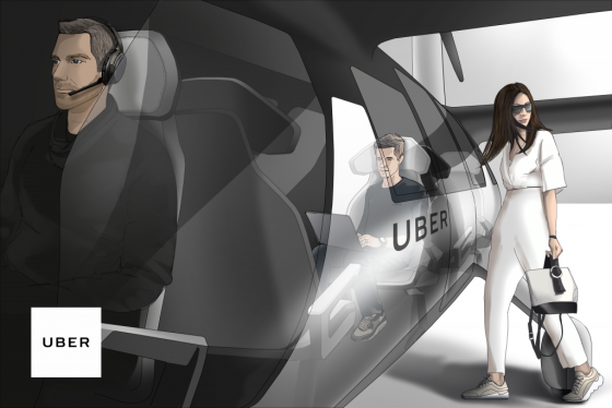 우버에어는 최대 4명까지 탈 수 있고 4쌍의 프로펠러가 달려있다. 그림은 서비스 개념도. /사진제공=우버.