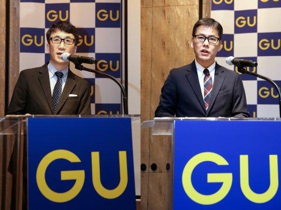 국내 론칭을 앞둔 유니클로 자매 브랜드 GU(지유)가 19일 서울 종로구 포시즌스호텔에서 기자간담회를 열어 사업계획을 설명했다. 사진은 유노키 오사무 대표(왼쪽)와 오사코 히로후미 에프알엘코리아 GU 사업 책임자/사진제공=에프알엘코리아
