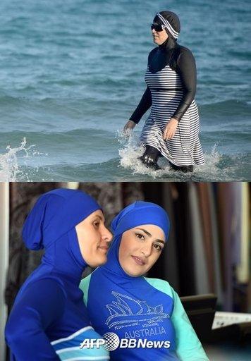 튀니지 해변에서 튀니지 무슬림 여성이 부르키니를 입고 놀고 있다(위), 부르키니 모델 /AFPBBNews=뉴스1