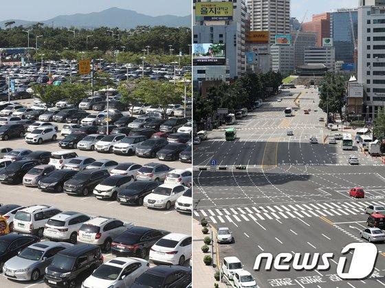 [사진]본격적인 휴가철 '공항엔 차량 가득, 도심은 텅텅'