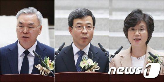 [사진]김선수·이동원·노정희 신임 대법관 '새롭게 시작합니다'