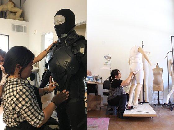 영화 '인랑' 속 강화복(왼쪽)과 '다키스트 아워'를 위해 개발한 팻슈트를 제작하고 있는 바네사 리 대표./사진제공=슈퍼슈트팩토리