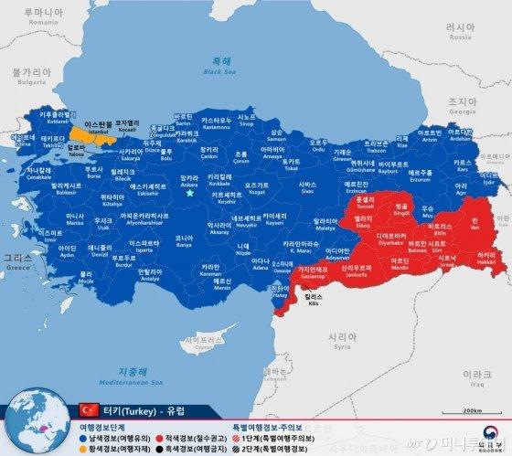 터키 여행경보 현황. 전역에 여행경보가 발령돼있다. /사진=외교부 해외여행안전센터