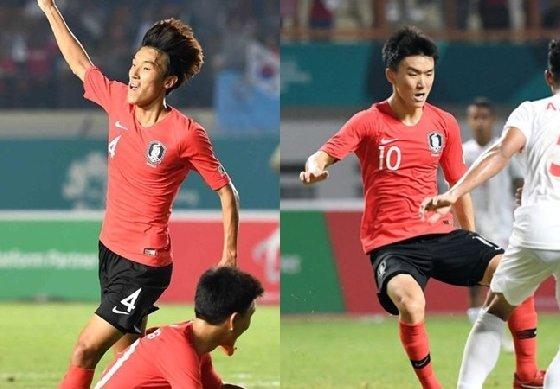 아시안게임 대표팀 김진야-황인범.<br /> <br />
