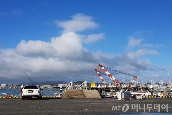 24일 오전 8시경 서서히 맑은 하늘을 되찾고 있는 목포 북항의 모습/사진=머니투데이
