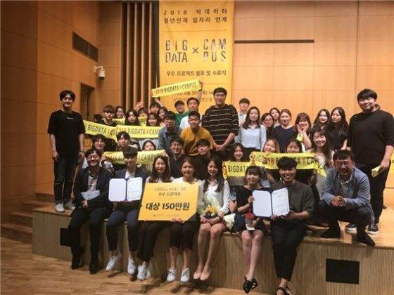 빅데이터X캠퍼스 우수프로젝트 경진대회에서 대상을 수상한 동국대학교 학생들의 모습/사진제공=동국대학교 빅데이터인재양성선도대학