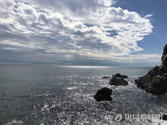 해가 보이기 시작하면서 바다를 가득 메운 윤슬./사진=이호준 여행작가