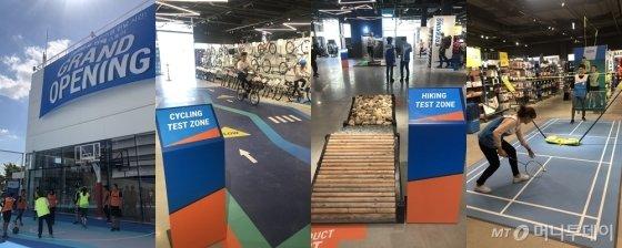 데카트론 매장에 마련된 농구장 등 체험공간/사진=양성희 기자