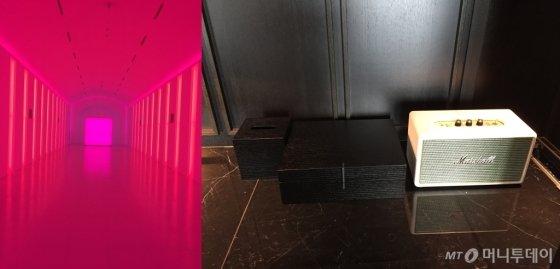 21일 개장하는 파라다이스시티 2차 시설들. 다양한 색으로 변하는 통로 '파라다이스 워크'(왼쪽)과 '아트 파라디소-로얄스위트'에 설치된 마샬 블루투스 스피커. /인천=김고금평 기자<br />