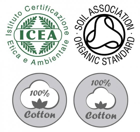 (왼쪽 상단) ICEA 유기농 인증 마크, (오른쪽 상단) SOIL ASSOCIATION 유기농 인증 마크, (아래) 일부 생리대 업체들이 자체 제작 이미지를 공식 인증 마크처럼 사용한다. /사진제공=콜만