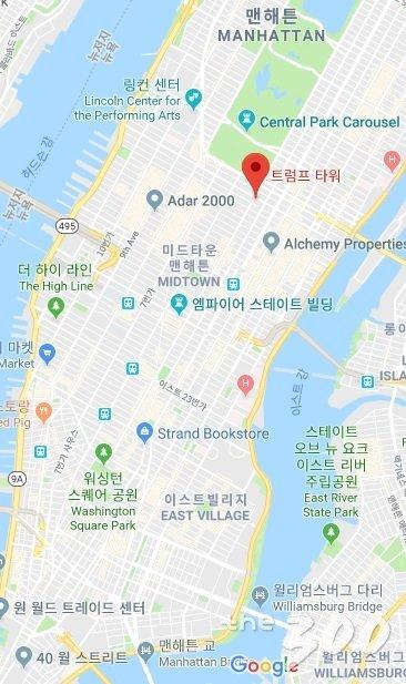 뉴욕의 트럼프타워 위치. 월스트리트에 자리한 트럼프 건물은 '트럼프 빌딩'으로 부른다./구글맵