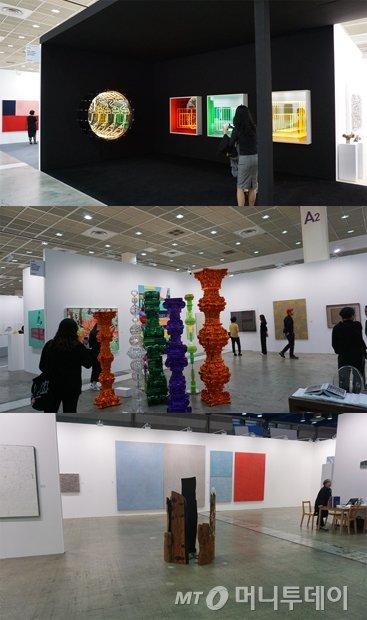 (위부터)갤러리 현대, 박여숙화랑, 학고재 부스 전경./사진=배영윤 기자