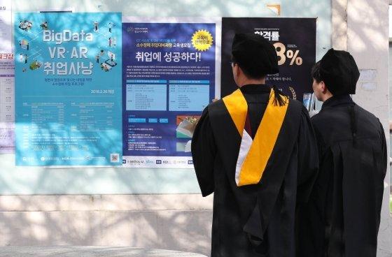 13일 오후 전기학위수여식이 열린 서울 동대문구 경희대학교에서 졸업생들이 취업관련 포스터를 바라보고 있다./사진=뉴스1