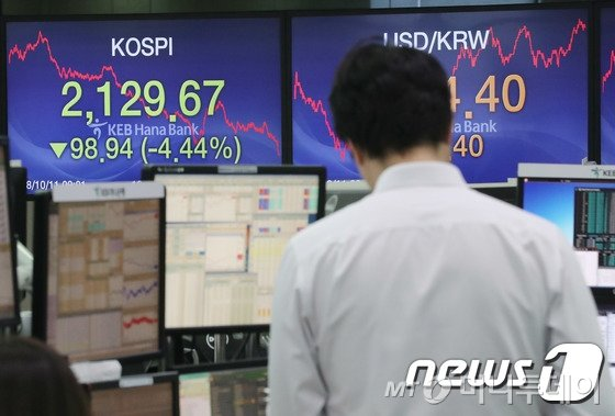 지난 11일 오후 서울 중구 KEB하나은행 딜링룸에서 직원들이 업무를 보고 있다. /사진=뉴스1