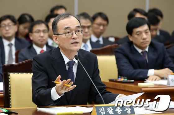 """[사진][국감] 문무일 """"사법농단 특별재판부, 국회논의 결과 보겠다"""""""